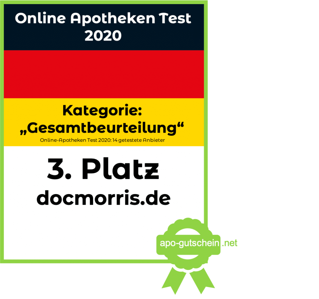 Online Apotheke test docmorris Platz 3 Kategorie Gesamtbeurteilung