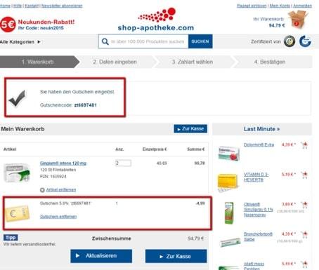 Shop-apotheke Gutscheine und Rabattcodes verwenden