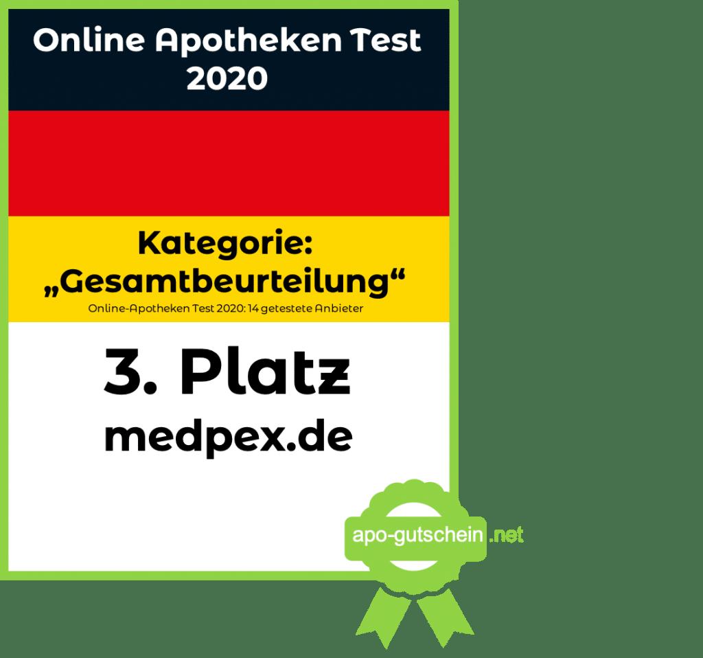 Online Apotheke Test- medpex-Platz3 Kategorie Gesamtbeurteilung