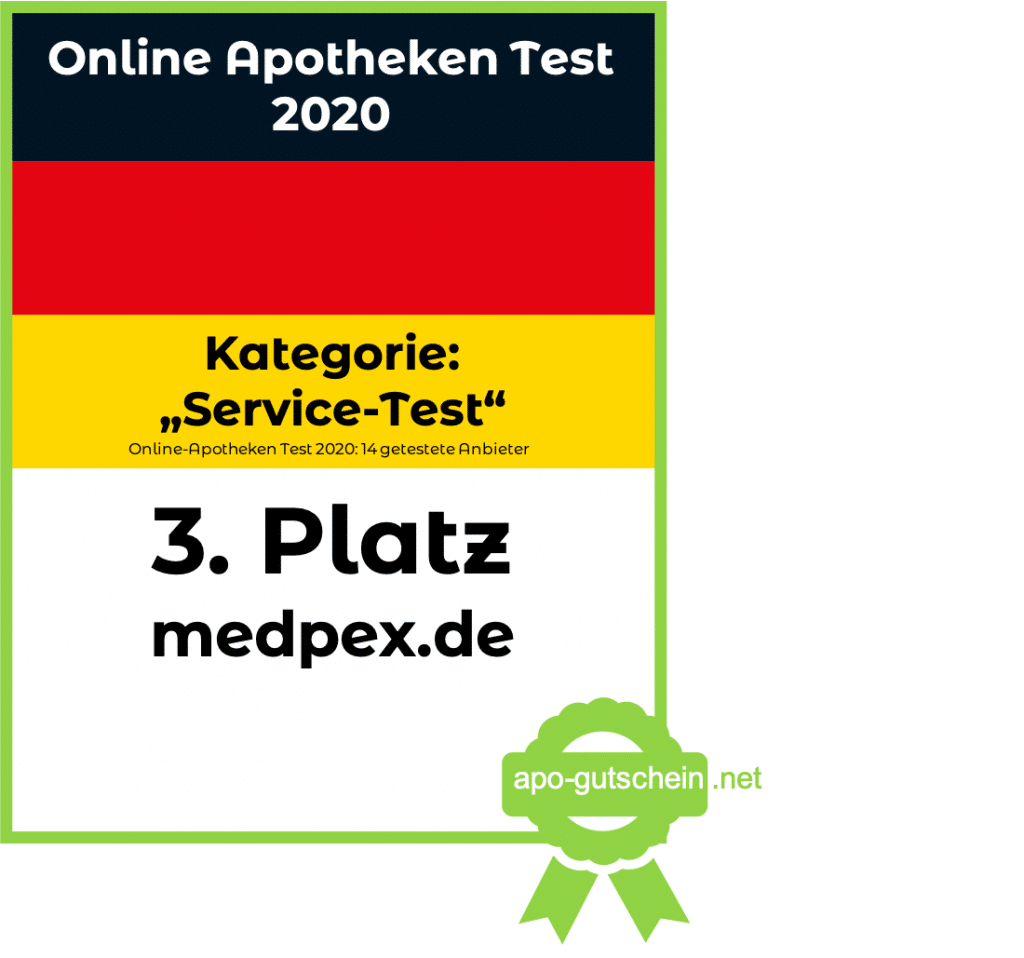 Apothekenvergleich Platz3 medpex Kategorie Service Test