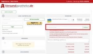 Versandapotheke Gutschein finden. Wo finde ich das Gutscheinfeld bei Versandapotheke.de