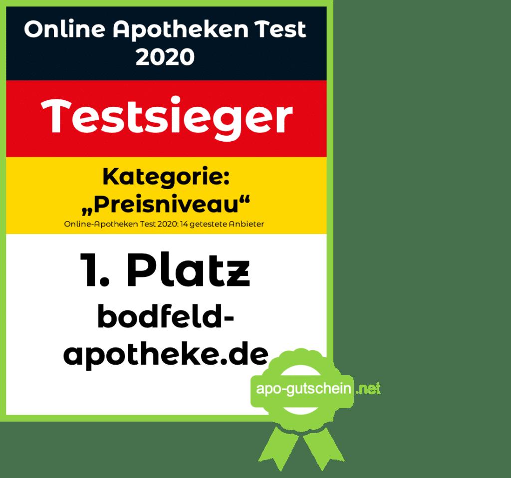 Online Apotheke Test bodfeld Testsieger Platz 1 Kategorie Preisniveau