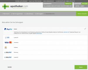 apotheker.com Gutschein einlösen Bezahloptionen
