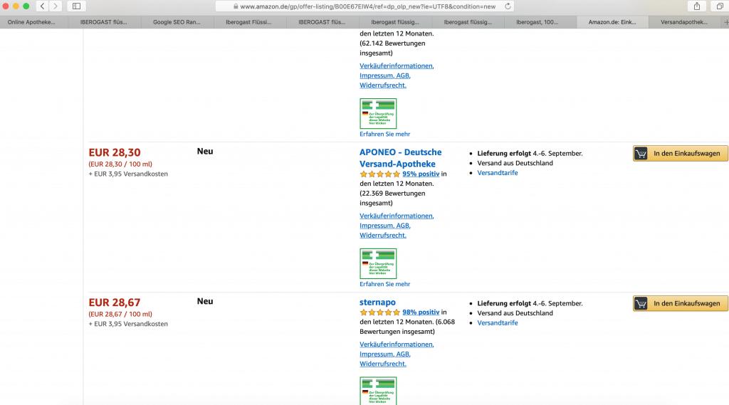 Medikamente Preisvergleich am Beispiel Amazon Marktplatz für Aponeo