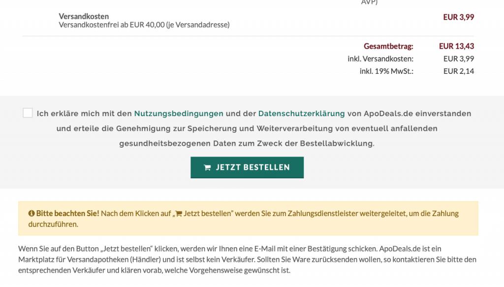 apodeals Gutscheine - Bestellung aufgeben
