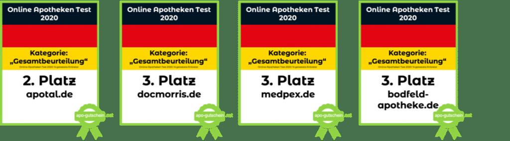 Online Apotheke Test 2020 Kategorie Gesamtbeurteilung Platze 2 und 3