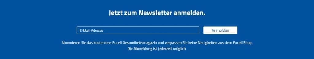 eucell Gutscheine - Newsletter Anmeldung